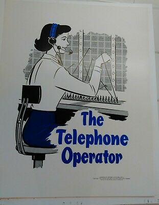 The Telephone Operator 1957 1961 Community Helpers Poster At&t Bell System