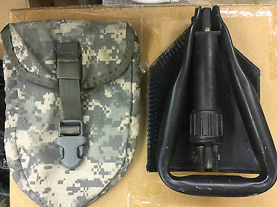 New AMES E-Tool Entrenching Tool Folding Shovel with Good Condit MOLLE II Case
