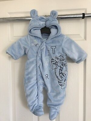 Baby Boys Blue Thick Cosy Disney Tigger Snow Suit, Winter, 0-3 Months, L@@K