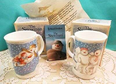 Vintage 1985 Royal Doulton THE SNOWMAN Two Tall Mugs w Original Boxes, Papers