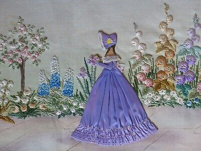 Vintage Embroidered '3D' Crinoline Lady Embroidered + Painted Garden Flowers