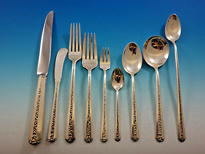 Rambler Rose by Towle Sterling Silver Flatware Set for 12 Service 124 pieces