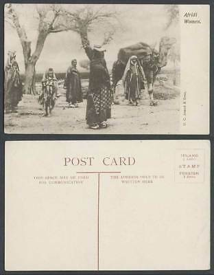 Pakistan Afghanistan India Old Postcard Native Afridi Women Girl, Camel Costumes