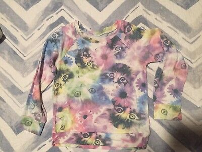 Justice Girls Brand Long Sleeve Sweater CAT print Pastel Colors SZ 6