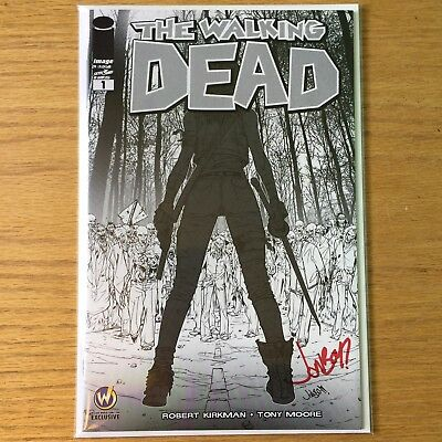 The Walking Dead 1 Wizard World B&W variant! Signed by Jonboy Meyers! NM