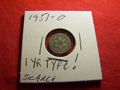 KEY DATE, 1851-O  3 Cent Silver, Higher grade, 1 year type, SCARCE THIS NICE!!