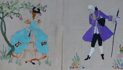 2 Vintage Hand Embroidered Pictures  Crinoline Lady + Her Beau In Georgian Dress
