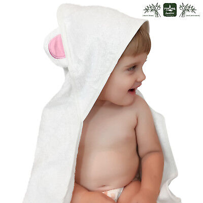 Ultra Soft Organic Bamboo Hooded Baby Bath Towel Hypoallergenic Gift Washcloth