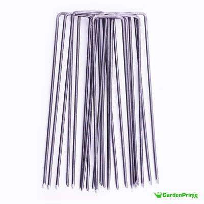 GardenPrime 2.8mm Premium U-shaped Garden Securing Pegs for securing weed fabric