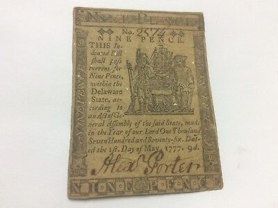 Delaware Colonial Currency 1777, 9 Pence, Printed James Adams, May 1 Alex Porter