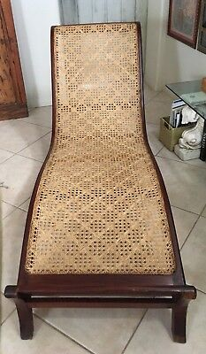 Antique British Colonial Chaise Mahogany and Hand Caned c mid 19th C