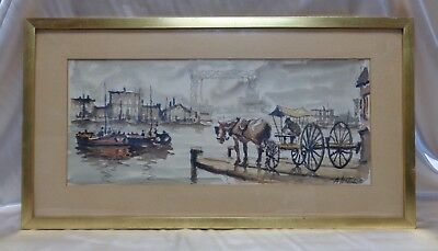 Almeida Estate Vintage Horse Carriage by Harbor Watercolor Painting (Framed)