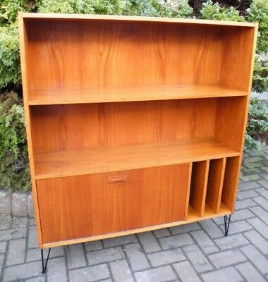 Teak Mid Century Danish 1960s Bookcase Wall Unit Record Cabinet - Clausen & Sons