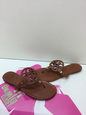Tory Burch 'Miller' Brown Leather Thong Sandals Women's Size 9 M