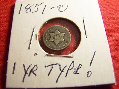 KEY DATE, 1851-O  3 Cent Silver, Lower Grade, 1-year type, SCARCE