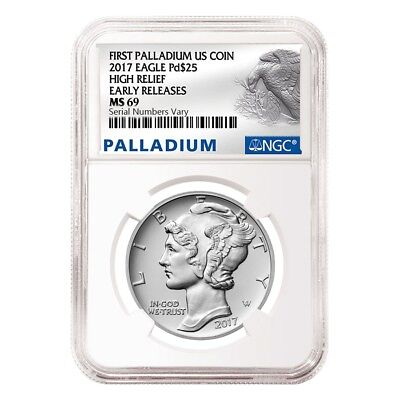 2017 1 oz Palladium American Eagle NGC MS 69 Early Releases
