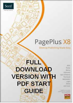 PagePlus X8  ( full Download version) with PDF start up Guide Windows 10, 8, 7
