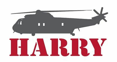Custom Name with Helicopter Wall Decal Vinyl