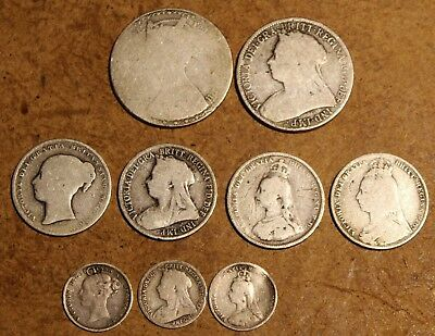9 lot UK Great Britain Queen Victoria Silver 1853 1885 1889 1892 1898 1899 Coins