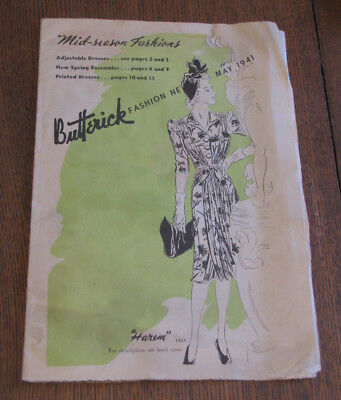 Vintage 1941 BUTTERICK Fashion PATTERN Paper Mini Store Catalog Womens Clothing
