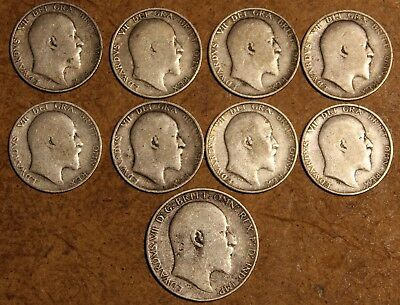 9 lot UK Great Britain KING EDWARD Silver 1904 1907 1908 1909 1910 Shilling Coin