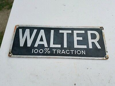 Vtg Walter 100% Traction Face Plate Plaque Metal Sign Old Snowfighter
