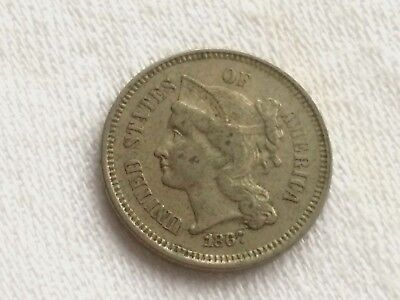 USA - Three Cent Nickel 1867 - Very Fine - Scarce and Lovely Coin!