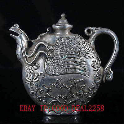 Chinese Silver copper Hand-work Carved Lotus Teapot BT003