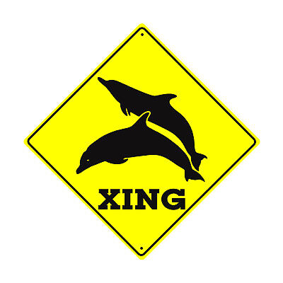 Xing with Dolphin Graphic Symbol Crossing Metal Aluminum Novelty Humorous Sign