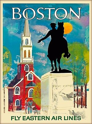 Boston Massachusetts Fly Eastern Airlines Vintage United States Travel Poster