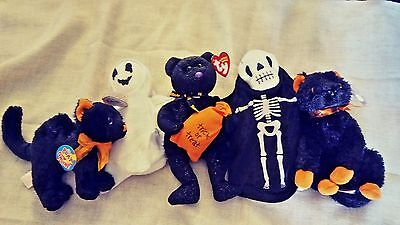 Ty Beanie Baby HALLOWEEN LOT OF 5  Fraidy, Scaredy, Sheets, Creepers & Trickster