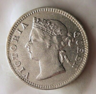 1901 STRAITS SETTLEMENTS 5 CENTS - Rare Big Value Silver Coin - Lot #921