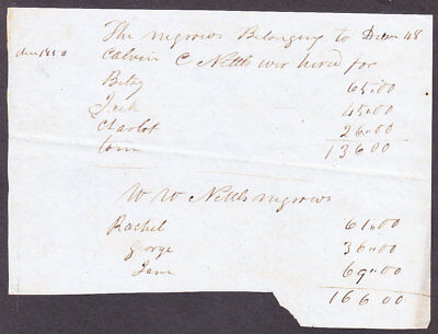 Slave for Hire Betsy Jack Charlot Tom $136 for year & Rachel George Jane 12/1848