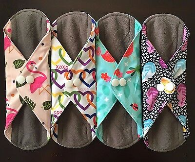 Reusable Menstrual Pad - 4 cloth pads soft charcoal bamboo more prints available