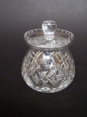 Cut Crystal Glass Jam Preserve Pot Complete with Crystal Knob Lid