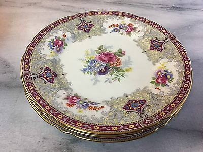 "Shelley Georgian 13361 Cake Plate 7"" red pink floral England bread and butter"