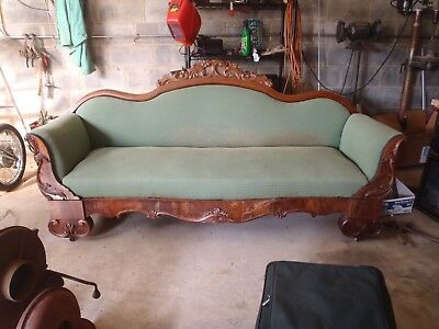 Antique Victorian Sofa Couch Carved Wood