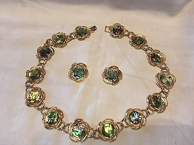 Vintage Golden Wreath Mother of Pearl  Necklace & Earrings