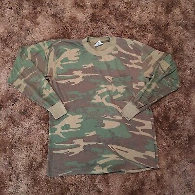 Vintage Distressed Paper Thin Long Sleeve Camo Shirt Size XL Made In USA