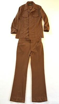 VIntage 70's HAGGAR Disco Poly Knit Brown Leisure Suit 38 Pants 32x31 Mint!