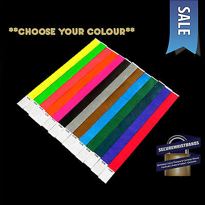 100 x Tyvek, Party, Event, ID Wristbands *Choose Your Colour* *SALE* 13 COLOURS