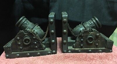 Vintage wood w/ornate brass cannons book ends patina