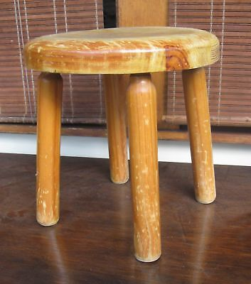 Milking Stool Wooden 4 Legged 31 cm high great for a kids room - paint an emoji