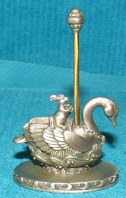 Vintage New Old Stock Hudson Pewter Carousel Swan & Rabbit Figurine 3282