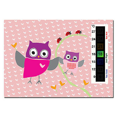 Baby Pink Owl & Ladybird Nursery Room Safety Temperature Thermometer Monitor