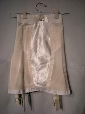 Vtg Open Bottom Girdle w/ Embroidered Satin Front Panel, 4 Garters, Small