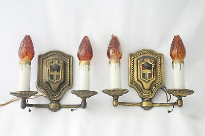 Pair Antique Vintage Brass Candle Light Electric Wall Sconces