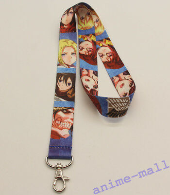 Attack On Titan Anime Lanyard Neck strap ID Card Badge Holder Key Chains P512