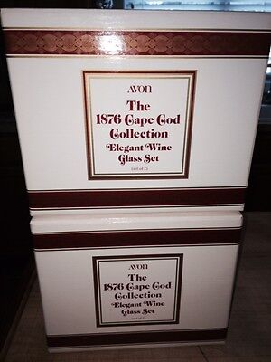 Avon 1876 Cape Cod Collection Ruby Red Elegant Wine Glass Set