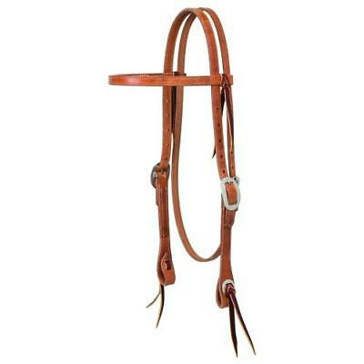 """*NEW* Weaver 5/8"""" Buttered Browband Russet Headstall"""